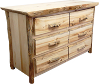"Rustic Arts 54"" wide 6-Drawer Dresser"